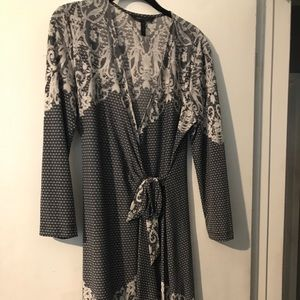 BCBG Charcoal & white lace look Dress size L